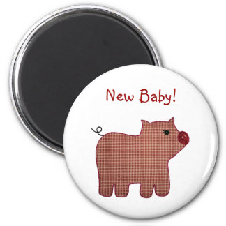 Cute Country Style Pink Plaid Pig New Baby 2 Inch Round Magnet