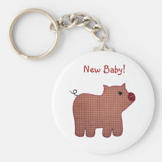 Cute Country Style Pink Plaid Pig New Baby Keychain