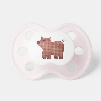 Cute Country Style Pink Plaid Pig Pacifier