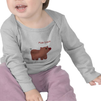 Cute Country Style Pink Plaid Pig With Name Shirts