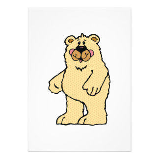 cute country style tan bear personalized invitations