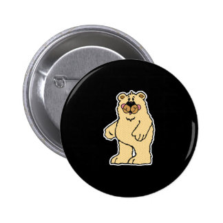 cute country style tan bear pinback button