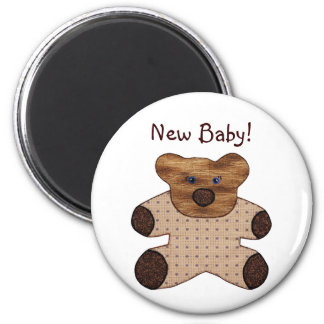 Cute Country Style Teddy Bear New Baby Magnet