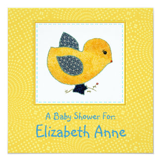 Cute Country Style Yellow Chick Baby Shower Card
