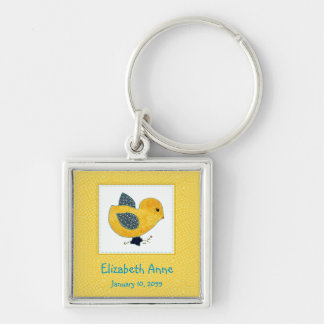 Cute Country Style Yellow Chick Birth Announcement Keychain