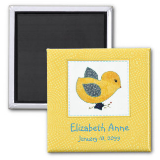 Cute Country Style Yellow Chick Birth Announcement Magnet