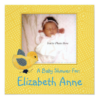 """Cute Country Style Yellow Chick Photo Baby Shower 5.25"""" Square Invitation Card"""
