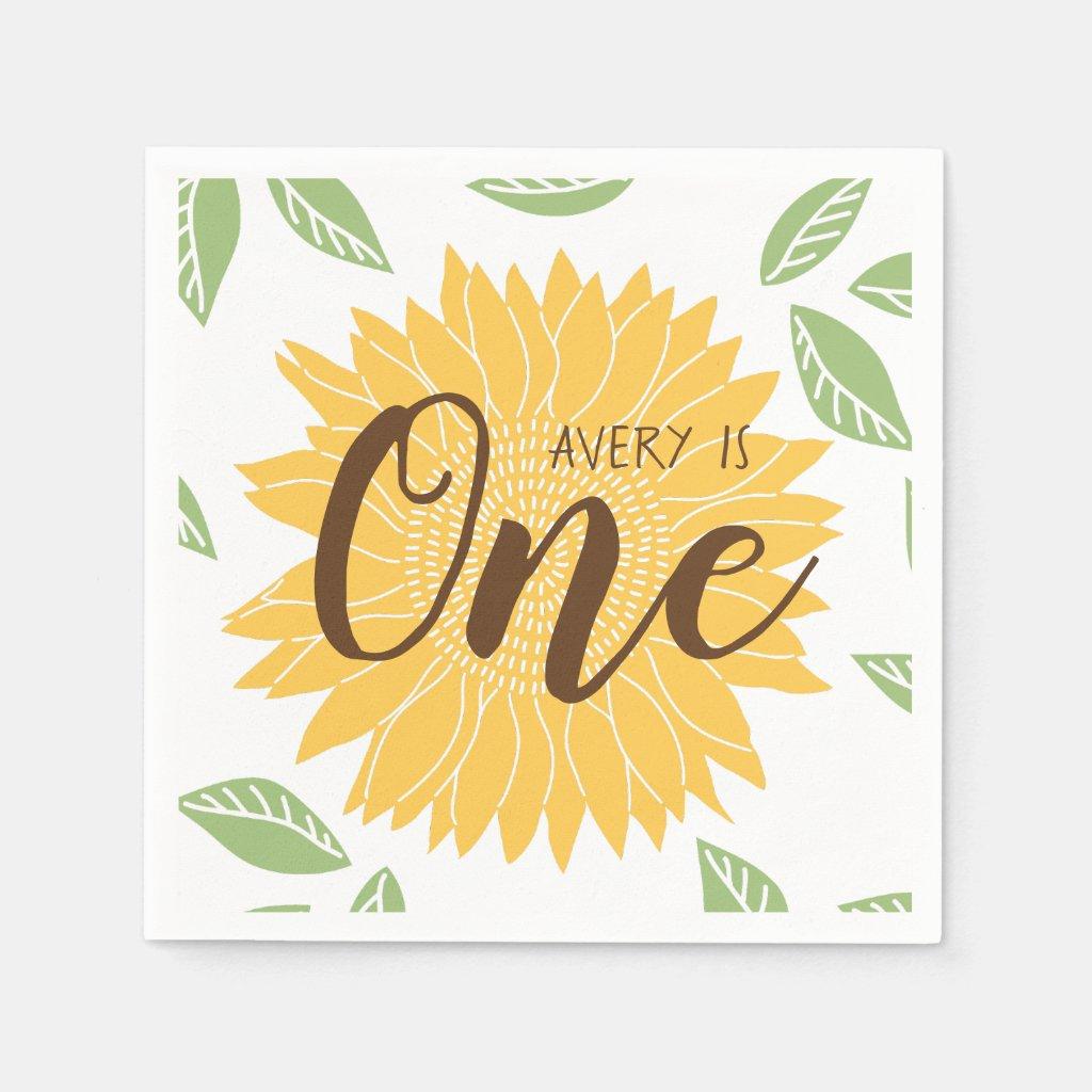 Cute Country Sunflower Baby's 1st Birthday Napkin