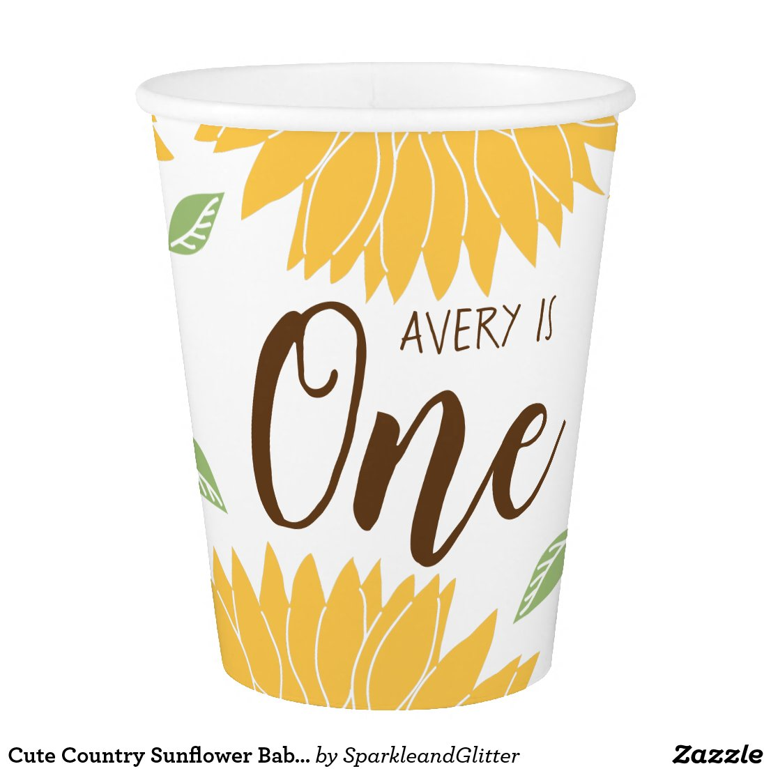 Cute Country Sunflower Baby's 1st Birthday Paper Cup