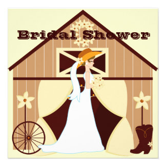 Cute Country Western Cowgirl Bridal Shower Invites