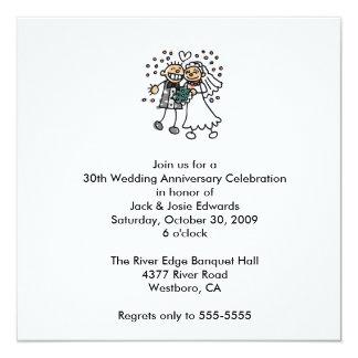 """Cute Couple Anniversary Invitation 5.25"""" Square Invitation Card"""