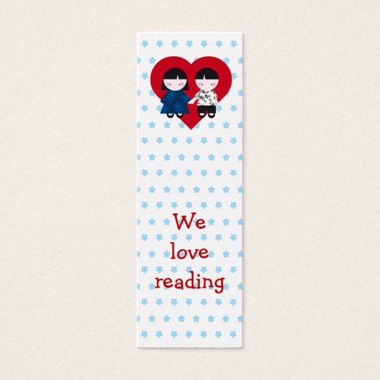 Cute couple Bookmark Mini Business Card