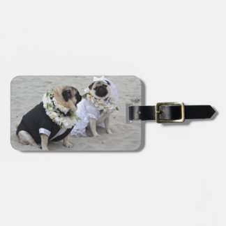 Cute couple bride and groom pugs bag tag