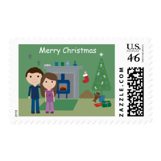 Cute Couple By The Fire Christmas Postage Stamps