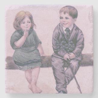 Cute Couple Children Log Shamrock Stone Coaster