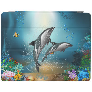 Cute Couple Dolphins Playing In Ocean iPad Smart Cover