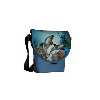 Cute Couple Dolphins Playing In Ocean Messenger Bag