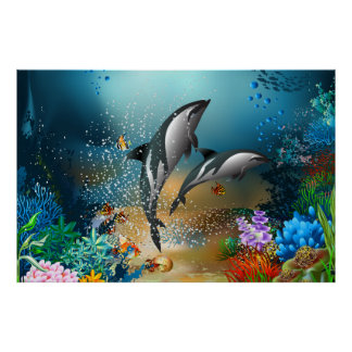 Cute Couple Dolphins Playing In Ocean Poster