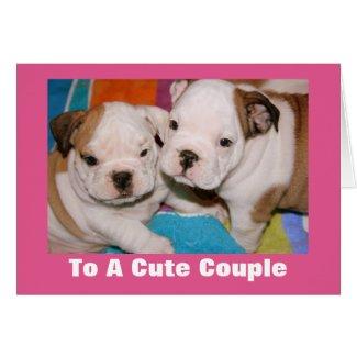Cute Couple English Bulldog Puppies Valentine Cards