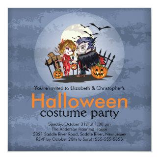 Cute Couple Halloween Costume Party Invitation