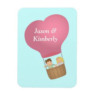 Cute couple in hot air balloon, sweet love rectangular magnets