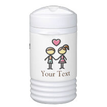 cute couple in love holding hands beverage cooler