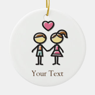 cute couple in love holding hands ceramic ornament