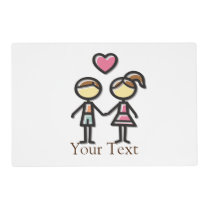 cute couple in love holding hands placemat