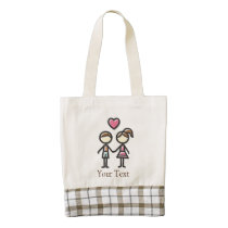 cute couple in love holding hands zazzle HEART tote bag