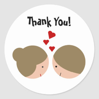 Cute Couple in Love Thank You Round Sticker