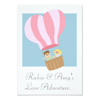 Cute couple in pink striped hot air balloon card