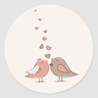 cute couple lovey birds design classic round sticker