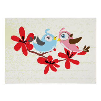 Cute couple of birds red flowers custom poster