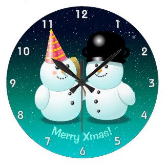 Cute Couple of Snowmen Cartoon Large Clock