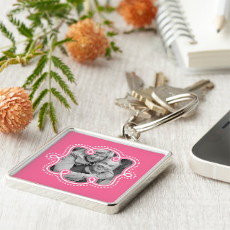 Cute Couple or Family Photo Doodle Frame Pink Keychain