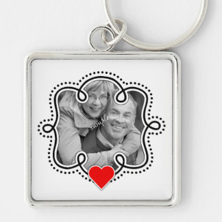 Cute Couple or Family Photo with Red Heart Keychain