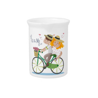Cute Couple riding bicycle illustration Beverage Pitcher