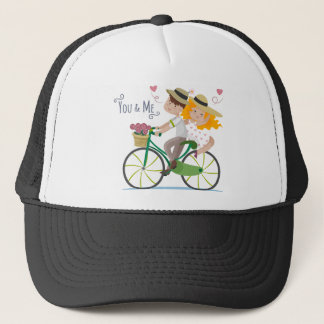 Cute Couple riding bicycle illustration Trucker Hat