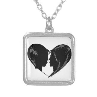 Cute Couple Square Pendant Necklace