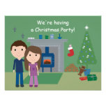 Cute Couple & Tree Christmas Party Invitations