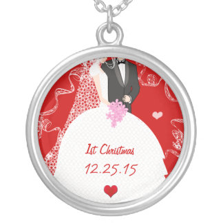 Cute Couple Wedding Gown Tuxedo 1st Christmas Silver Plated Necklace