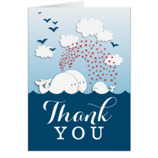 Cute Couple White Whales Thank You Note Card