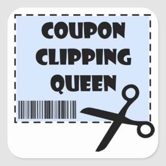 Cute Coupon Clipping Queen Saying Square Sticker