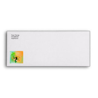 Cute coutan with tropical background envelopes
