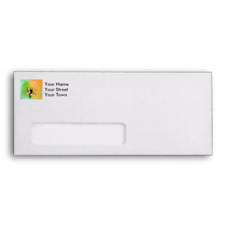 Cute coutan with tropical background envelope