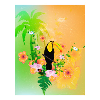 Cute coutan with tropical background letterhead