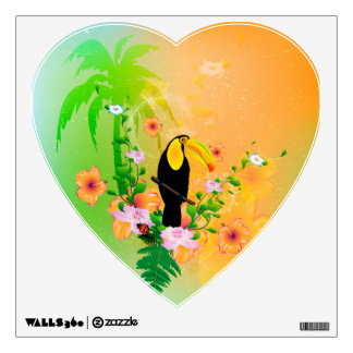 Cute coutan with tropical background wall sticker