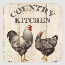 Cute Coutry Farm kitchen Rooster and chicken Square Sticker