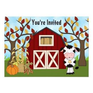Cute Cow and Barn Autumn Birthday Invitation