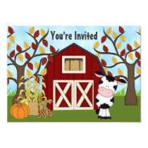 Cute Cow and Barn Autumn Birthday Invitation